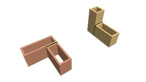 günstige Gebäudeformen durch Auflösung in rechteckige Bauteile und Ausbildung von Gebäudefugen (grün)